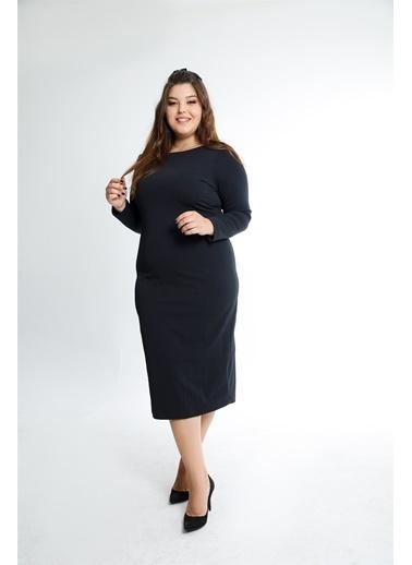 Luokk Cameron Kayık Yaka Elastan Kumaş Yırtmaç Detaylı  Elbise Siyah Siyah